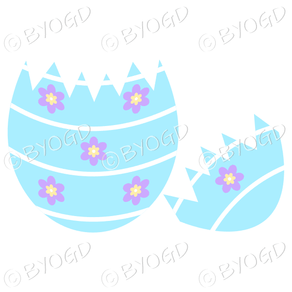 Cracked blue Easter Egg with purple and yellow flower decoration