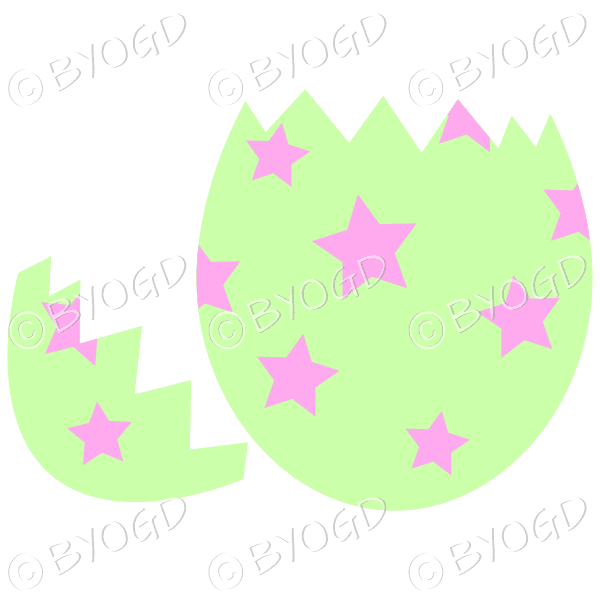 Cracked green Easter Egg with pink star decoration