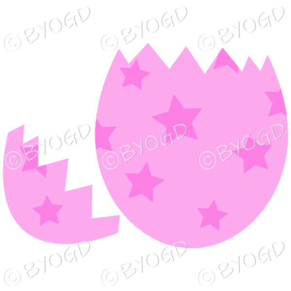 Cracked pink Easter Egg with dark pink star decoration