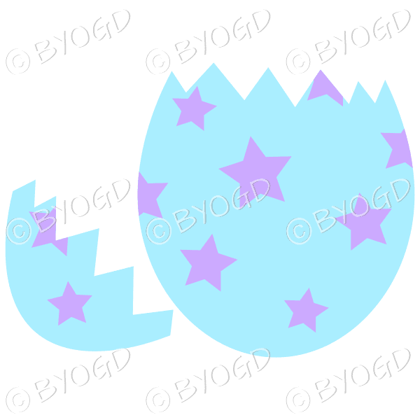 Cracked blue Easter Egg with purple star decoration