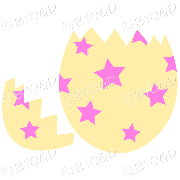 Cracked yellow Easter Egg with pink star decoration