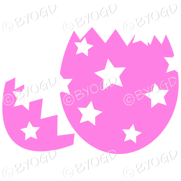 Cracked pink Easter Egg with white star decoration