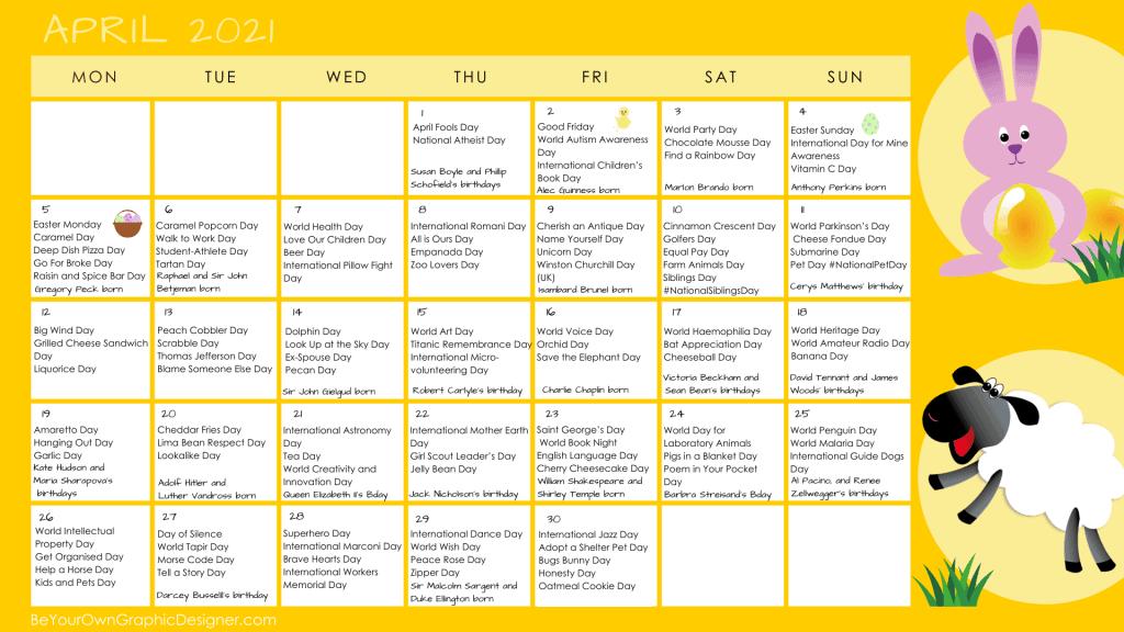 April 2021 Content Ideas Calendar