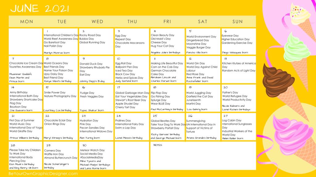 June 2021 Content Ideas Calendar and Inspiration