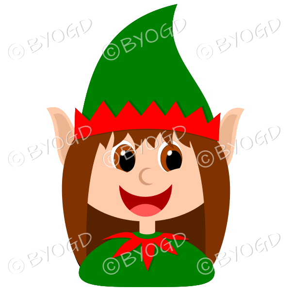 Christmas elf girl with brown hair in red and green suit
