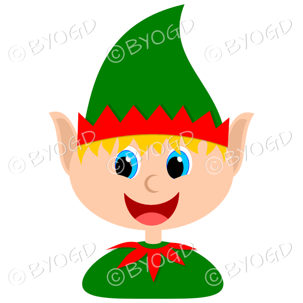 Christmas elf boy with blond hair in a red and green suit