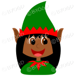 Christmas elf girl with black hair in a red and green suit