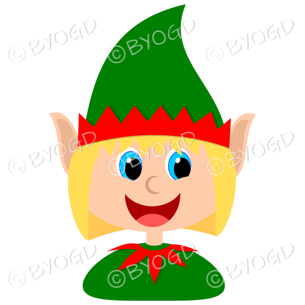 Christmas elf girl with blonde hair in a red and green suit