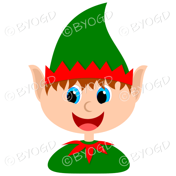 Christmas elf boy with brown hair in a red and green suit